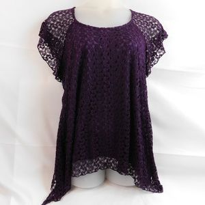 Dressbarn Womens Lace Crochet Top 1X Purple Lined